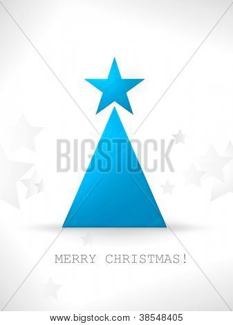 The simple geometric shapes star and triangle form a modern, stylized Christmas tree with a smooth and slightly textured surface and a unobtrusive star pattern in the background.