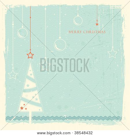 Illustration of a stylized Christmas tree with with hanging Christmas ornaments on pale blue grunge background. Space for your text.