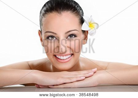 Beautiful spa woman smiling, health and beauty,  over white background