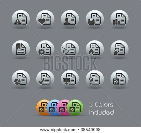 Documents Icons - 2 of 2 // Pearly Series -------It includes 5 color versions for each icon in different layers ---------