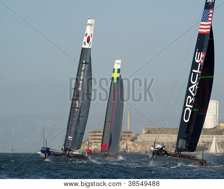 SAN FRANCISCO, CA - OCTOBER 4: Oracle Team USA, Artemis Red and Team Korea compete in the America'??s Cup World Series sailing races in San Francisco, CA on October 4, 2012