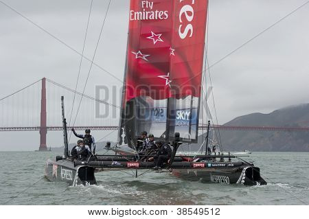SAN FRANCISCO, CA - OCTOBER 4: The Emirates Team New Zealand sailboat skippered by Dean Barker competes in the America's Cup World Series sailing races in San Francisco, CA on October 4, 2012