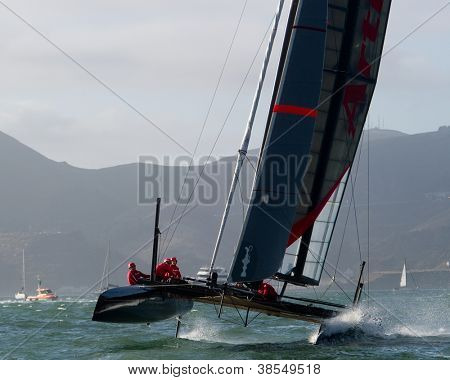 SAN FRANCISCO, CA - OCTOBER 4: Sweden'?s Artemis Racing Red sailboat skippered by Nathan Outteridge competes in the America's Cup World Series sailing races in San Francisco, CA on October 4, 2012
