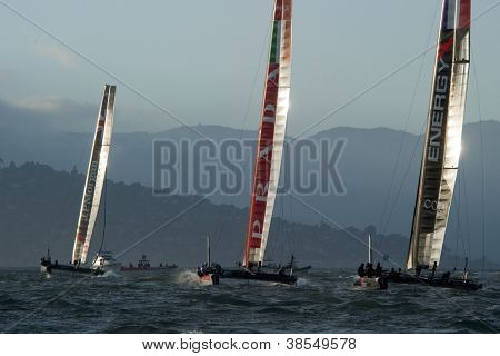 SAN FRANCISCO, CA - OCTOBER 4: Ben Ainslie Racing, Luna Rossa and Energy Team compete in the America's Cup World Series sailing races in San Francisco, CA on October 4, 2012