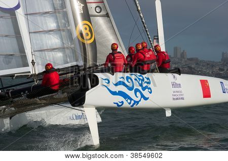 SAN FRANCISCO, CA - OCTOBER 4: Team China's sailboat skippered by Phil Robertson competes in the America's Cup World Series sailing races in San Francisco, CA on October 4, 2012