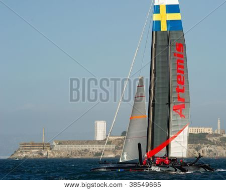 SAN FRANCISCO, CA - OCTOBER 4: Sweden'??s Artemis Racing Red sailboat skippered by Nathan Outteridge competes in the America'??s Cup World Series sailing races in San Francisco, CA on October 4, 2012