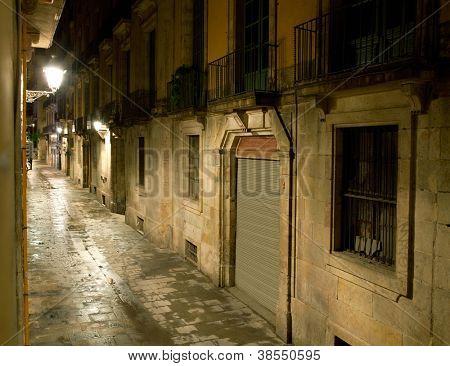 Empty alleyway in Barcelona. Spain. Street Carrer dels Tallers by night