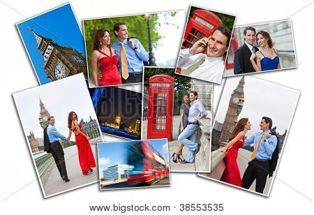 Romantic man and woman couple on vacation seeing the sights and landmarks in London, England, Great Britain