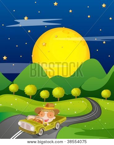 illustration of a car and road in a beautiful nature