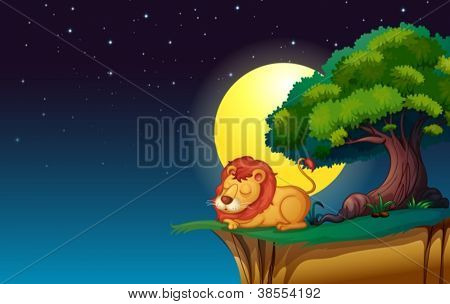 illustration of a lion in a dark night