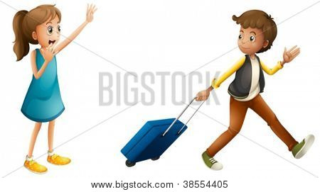 illustration of a boy, girl and suitcase on a white background