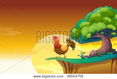 illustration of a hen in a beautiful nature