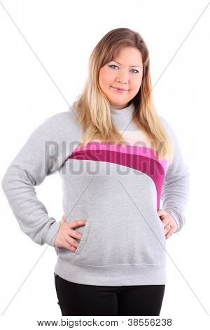 Smiling beautiful blonde woman looks at camera isolated on white background.