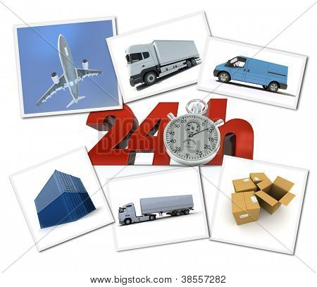 Collage of images related to urgent freight transportation