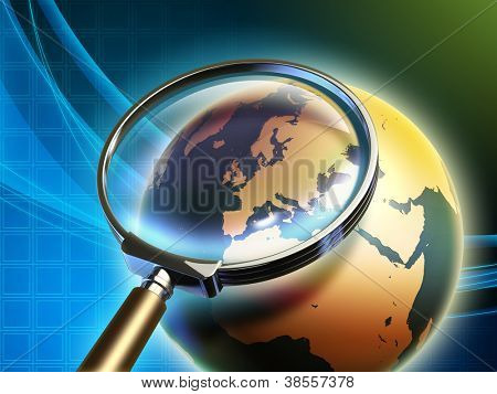 The Earth analyzed under a magnifying glass, with focus on Europe. Digital illustration, elements of this image furnished by NASA.