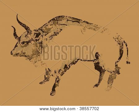 Ancient cave painting of buffalo