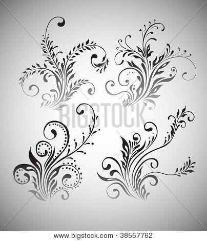 Vintage floral elements vector design
