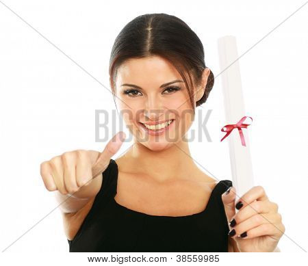 Beautiful woman student with diploma and showing ok,isolated on white background