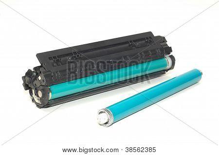 Laser Printer Toner Cartridge On White Background