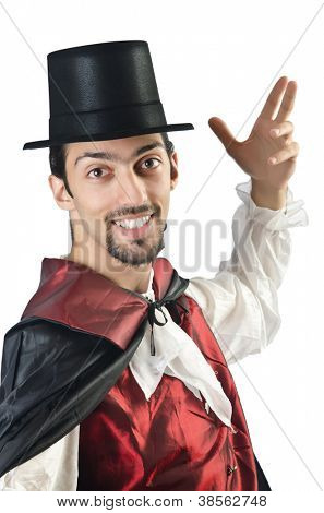 Magician doing tricks on white
