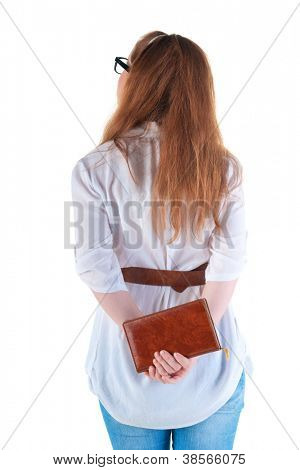 back view of standing redhaired woman with  notebook looking. Rear view people collection.  backside view of person.  Isolated over white background.