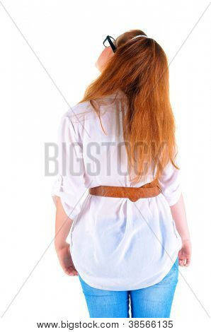 back view of standing redhaired woman . Rear view people collection.  backside view of person.  Isolated over white background.
