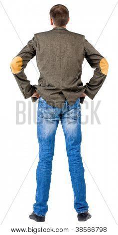 Rückansicht des Geschäftsmann in Anzugjacke.  suchen vor sich selbst. Isolated over white backgroun