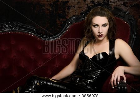 Step Into My Lair - Female Vampire In Catsuit