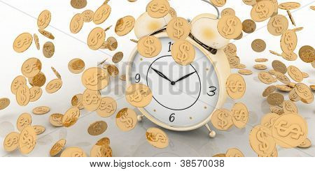 Alarm clock and money on white. Concept,  time is  money.