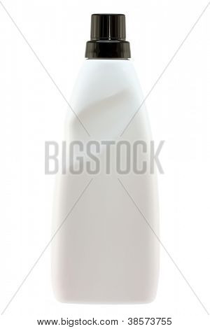 A White bottle of Softening Liquid for Front-load and Top-load washing machine,  isolated on white background
