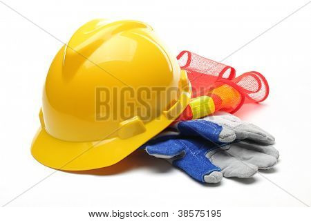 Safety gear kit isolated on white.