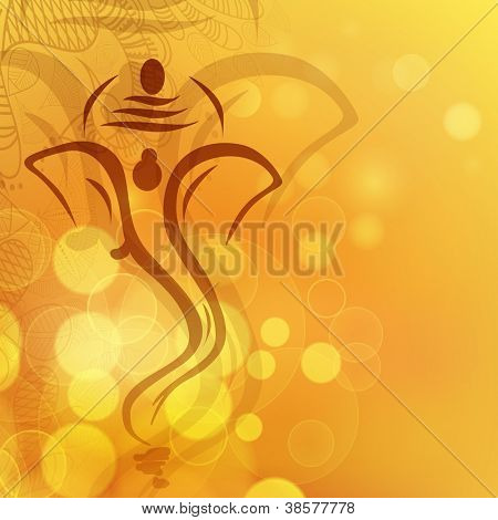Creative illustration of Hindu Lord Ganesha. EPS 10.