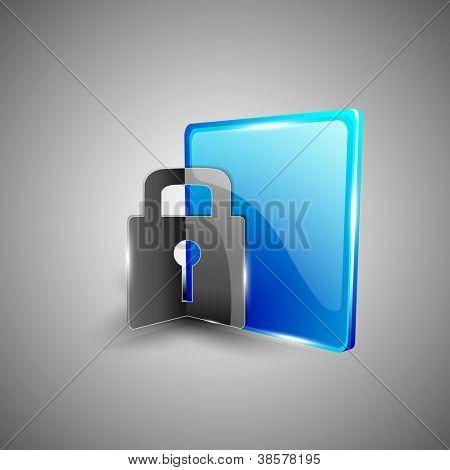 Glossy 3D web 2.0 lock, login or security symbol icon set. EPS 10.