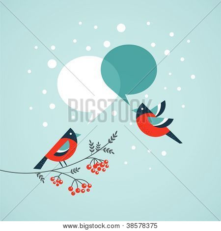 Christmas tree with birds and speech bubbles