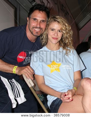 LOS ANGELES - OCT 6:  Don Diamont, Linsey Godfrey attends the Light The Night Walk to benefit The Leukemia & Lymphoma Society at Sunset Gower Studios on October 6, 2012 in Los Angeles, CA