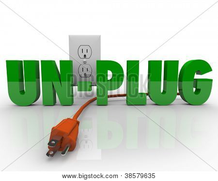 The word Unplug in green letters with an orange electrical cord disconnected from the power outlet
