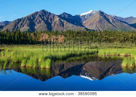 lake  in tundra in Alaska