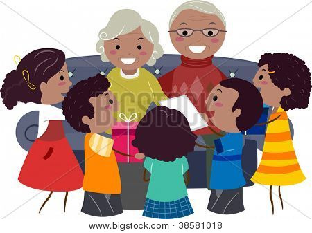 Illustration of Kids Giving Presents to Their Grandparents