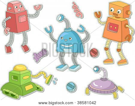 Illustration of Robots That Can be Printed Out as Stickers