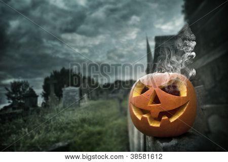 Jack-o espeluznante en la noche de Halloween