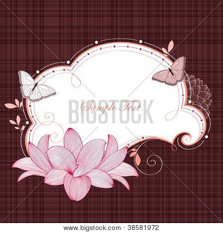 Floral frame with butterflies and flower lily. Element for design. Vector illustration.