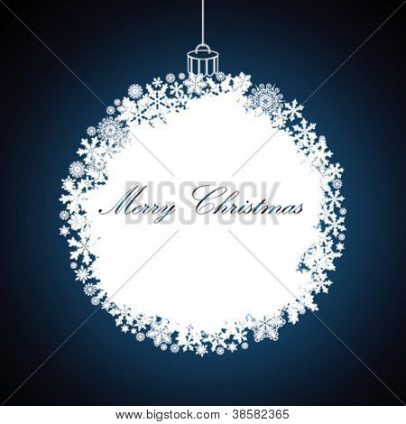 Christmas gift ball, snowflake design background.