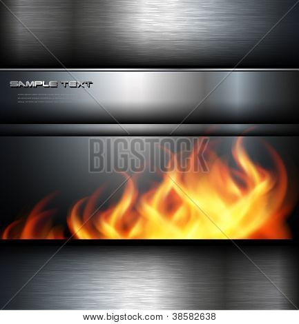 Abstract background metallic with vector fire flames.