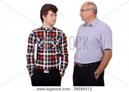 Happy smiling father talking with his young son, isolated on white background