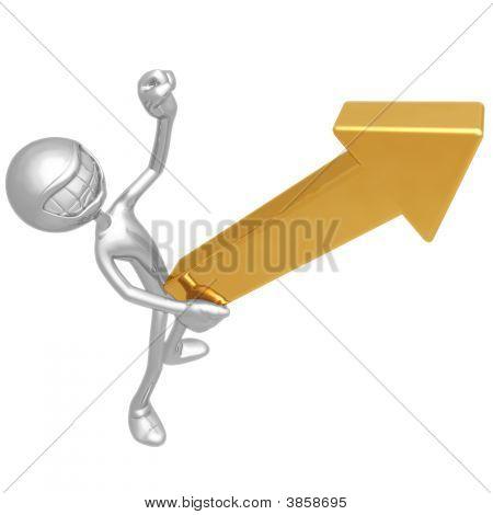 Solid Gold Upward Market Arrow