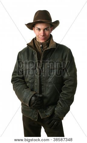 Young sexy man wearing winter clothes isolated on white