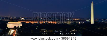 Washington DC skyline at night, including Lincoln Memorial, Washington Monument and Arlington Memorial Bridge