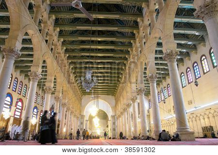 Damascus, Syria - Historical Omayyad Mosque interior view