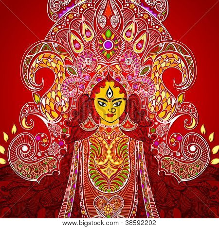 illustration of colorful Goddess Durga against abstract background