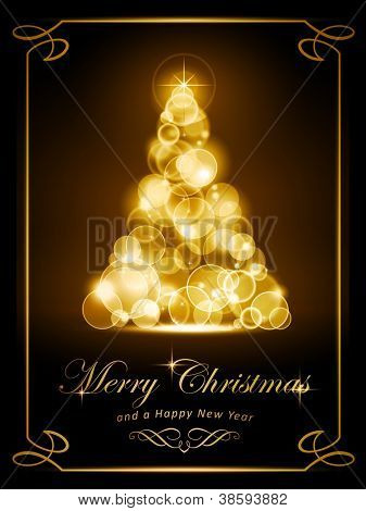 Warmly sparkling Christmas tree made of defocused light dots on dark brown background. Light effects give it a radiating glow. Perfect for the coming festive season.